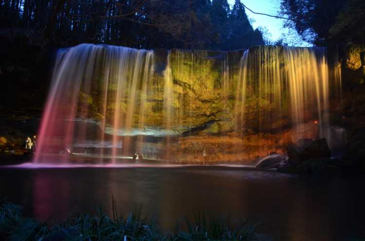 Fantastic Waterfall Lighting Show In Many Colors   Review of Nabegataki Fall