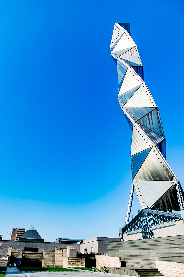 Overwhelming Presence!  Shining Futuristic Tower Designed By Arata Isozaki | Review of Art Tower Mito
